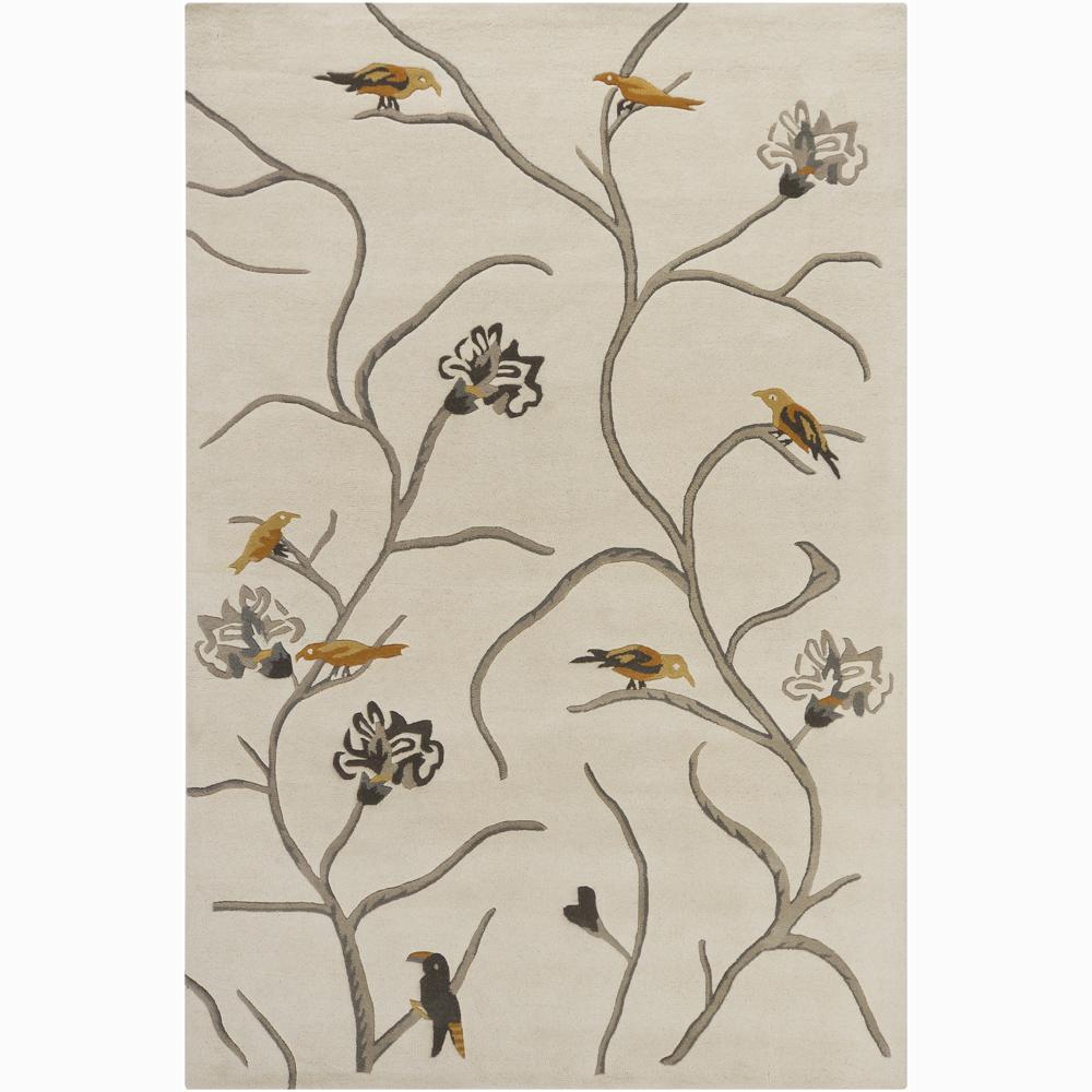 Hand-tufted Mandara White Floral Wool Rug (6' x 9')