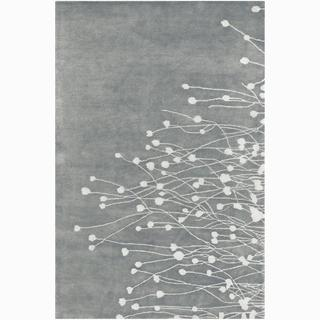 Hand-tufted Grey Floral Wool Rug (9' x 13')