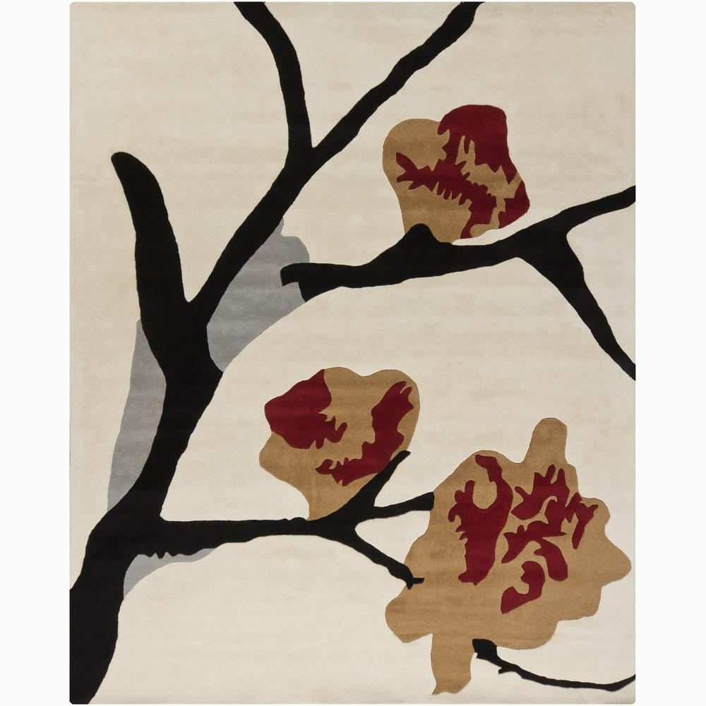 Hand-Tufted Mandara White/Gray Floral Wool Rug (6' x 9')