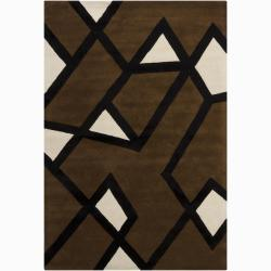 Hand-tufted Mandara Geometric Black Wool Rug (6' x 9')