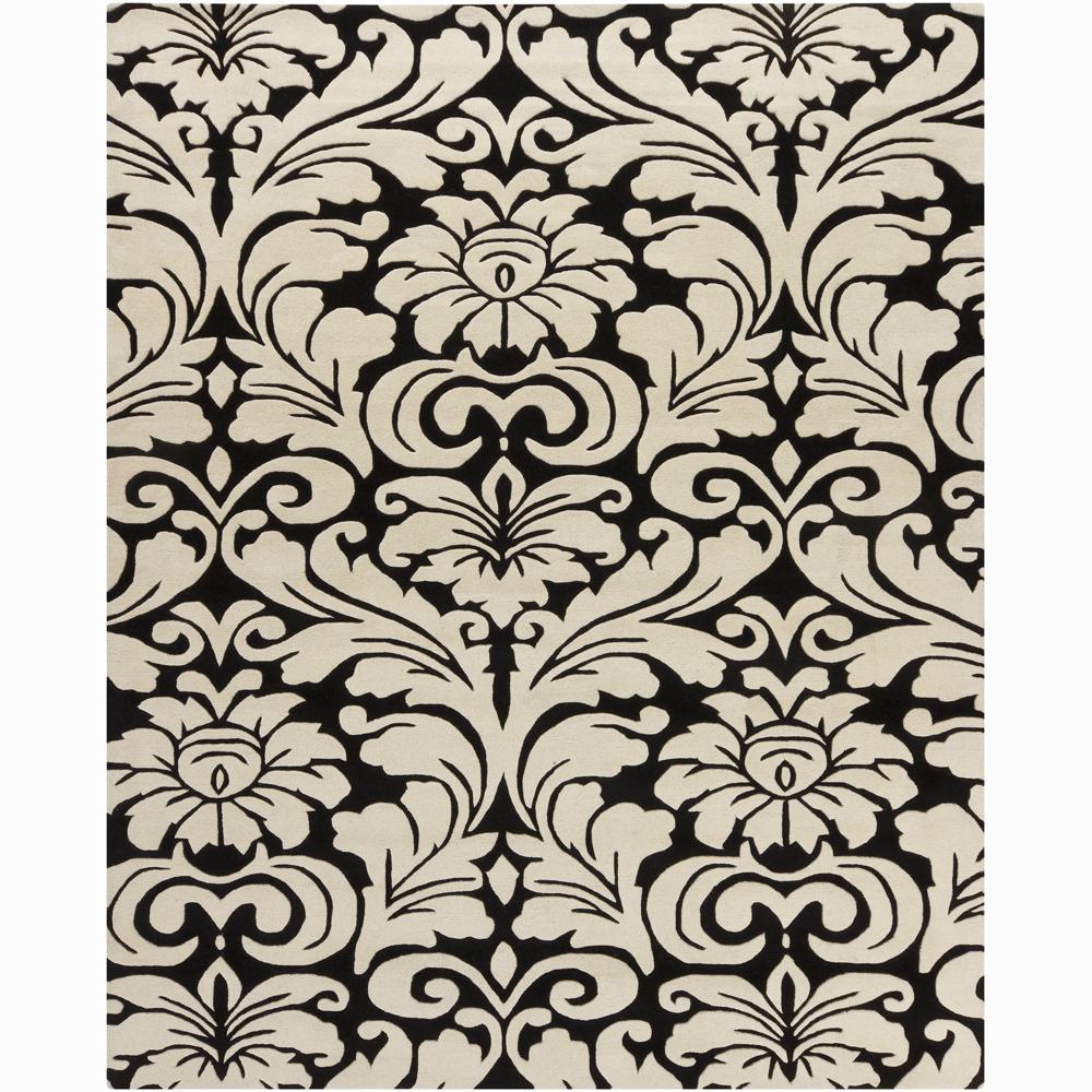 Hand-tufted Mandara Floral Black Wool Rug (6' x 9')