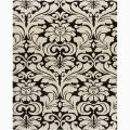 Hand-tufted Mandara Floral Black Wool Rug (6' x 9')
