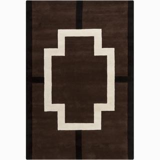 Hand-tufted Mandara Geometric Brown Wool Rug (6' x 9')