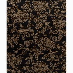 Hand-Tufted Mandara Floral Black Wool Area Rug (6' x 9')