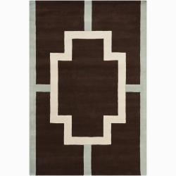 Hand-Tufted Mandara Geometric Brown Wool Area Rug (6' x 9')