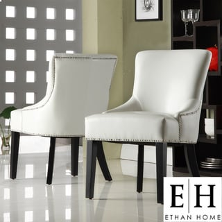 ETHAN HOME Westmont White Faux Leather Chairs (Set of 2)