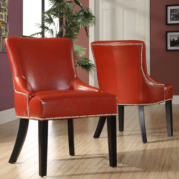 Westmont Hot Red Faux Leather Chairs (Set of 2)