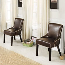 Westmont Brown Bonded Leather Chair (Set of 2)