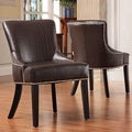 ETHAN HOME Westmont Brown Faux Alligator Print Chair (Set of 2)