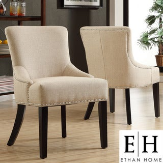 ETHAN HOME Westmont Beige Linen Chairs (Set of 2)