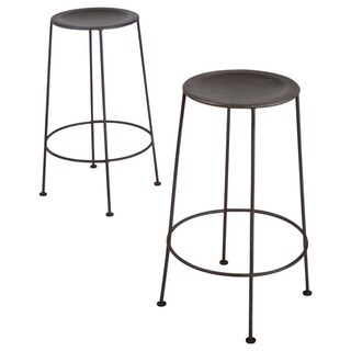 Set of 2 Iron Zinc-finish Bar Stools (India)