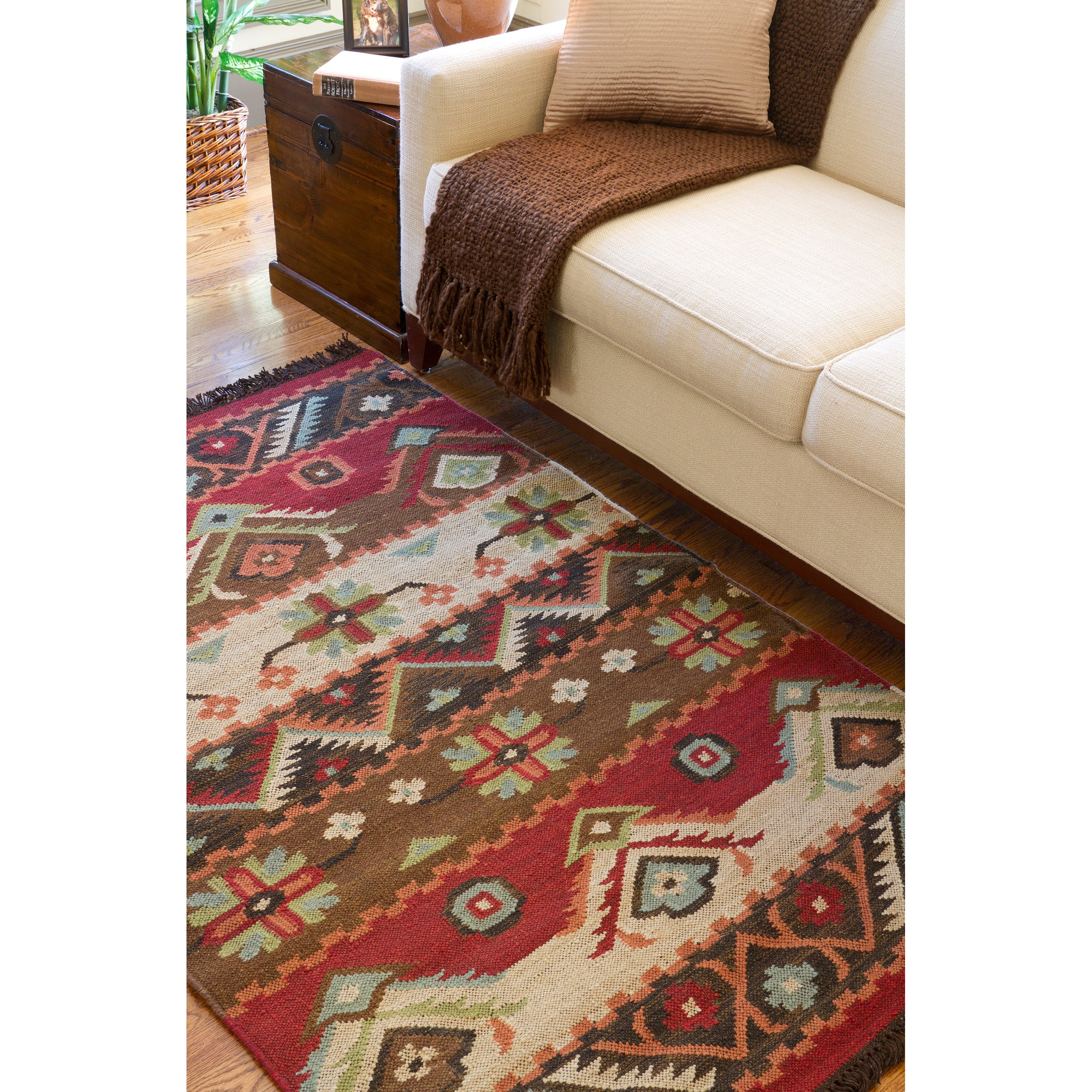 Hand-woven Red/Tan Southwestern Aztec Louise Wool