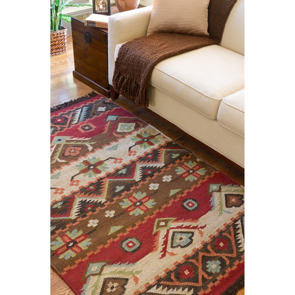 Hand-woven Red/Tan Southwestern Aztec Louise Wool Flatweave Rug (5' x 8')