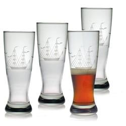 Susquehanna Glass Hand-cut Clipper Ship Grand Pilsner Glasses (Set of 4)