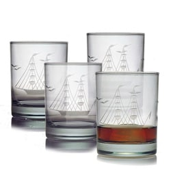 Clipper Ship Double Old Fashioned Glasses (Set of 4)