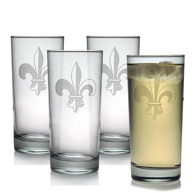 Fleur De Lis Hiball Glasses (Set of 4)