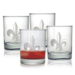 Fleur De Lis Double Old Fashioned Glasses (Set of 4)