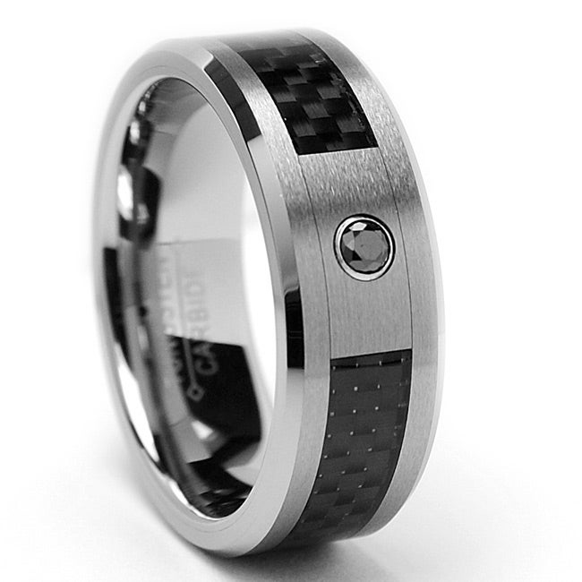Men's Tungsten Black Diamond Accent and Carbon Fiber Ring