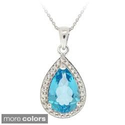 Glitzy Rocks Silver Blue Topaz and CZ Teardrop Necklace