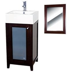 Mezquite Wood Walnut/ White Bathroom Vanity and Mirror