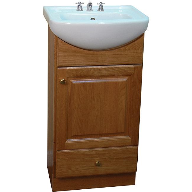 Petite 18 Inch Wood Oak/ White Bathroom Vanity