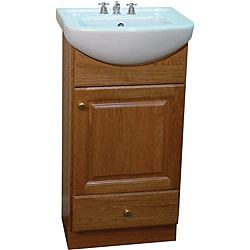 Petite 18 Inch Wood Oak/ White Bathroom Vanity