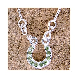 Sterling Silver 'Lucky Horseshoe' Peridot Necklace (India)