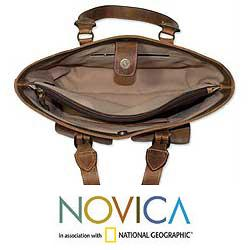Handcrafted Leather 'Honey Sierra' Large Handbag (Mexico)