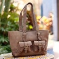 Handcrafted Leather 'Honey Sierra' Large Handbag (Mexico)
