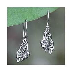 Sterling Silver 'Baby Butterfly' Dangle Earrings (Indonesia)