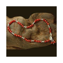 Sterling Silver 'Brilliant Glow' Carnelian Anklet (India)