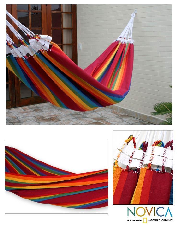 Cotton 'Iracema Rainbow' Hammock , Handmade in Brazil