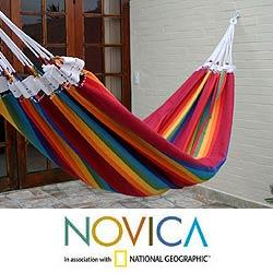 Cotton 'Iracema Rainbow' Hammock , Handmade in Brazil