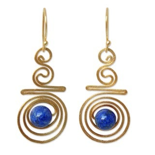 24k Goldplated 'Follow The Dream' Lapis Lazuli Earrings (Thailand)
