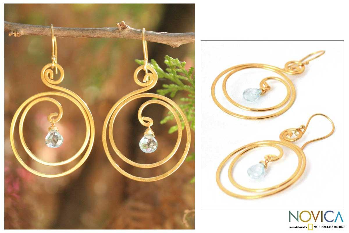 24k Goldplated 'Sun Dew' Blue Topaz Dangle Earrings (Thailand)