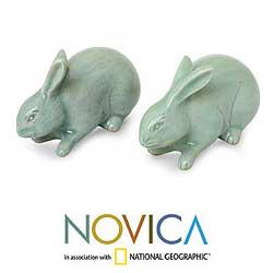 Set of 2 Celadon Ceramic 'Jade Rabbits' Sculptures (Thailand)