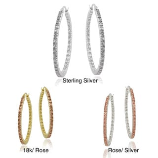 DB Designs Rose Gold over Sterling Silver Champagne Diamond Accent Hoop Earrings