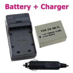Battery and Compact Charger Set for Canon NB-7L/ G10/ G11