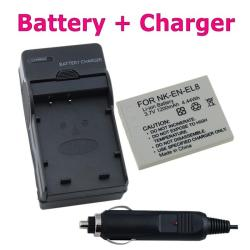 Battery and Compact Charger Set for Nikon EL-EL8