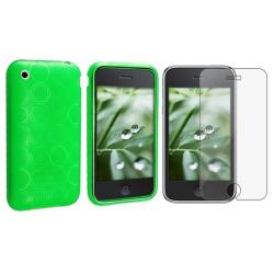 Clear Green TPU Rubber Case/ Screen Protector for Apple iPhone 3G