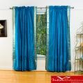 Turquoise Sheer Sari 84-inch Rod Pocket Curtain Panel Pair (India)
