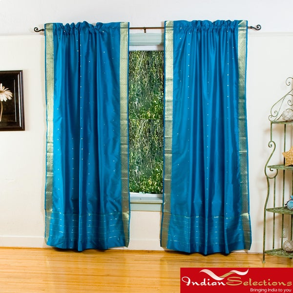 Turquoise Sheer Sari 84-inch Rod Pocket Curtain Panel Pair (India)