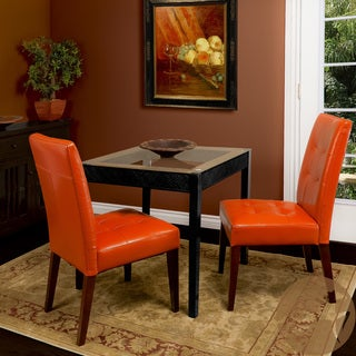 Christopher Knight Home Tufted Burnt Orange Leather Dining Chair (Set of 2)