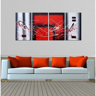 Hand-painted 'Abstract-350' 4-piece Gallery-wrapped Canvas Art Set