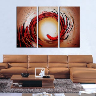 Hand Painted 'Abstract-349' Oil Paint 3-piece Canvas Art Set