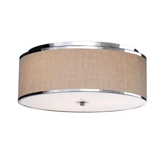 3-light Linen Shade Shining Silver Ceiling Chandelier