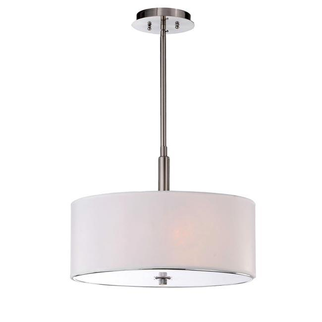 3-light Off-white Shade Satin Nickel Chandelier
