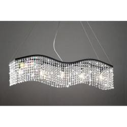 Wave 5-light Black and Crystal Chandelier