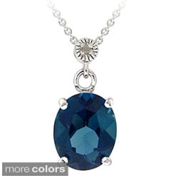 Glitzy Rocks Silver Blue Topaz Diamond Accent Necklace (I-J, I2-I3)