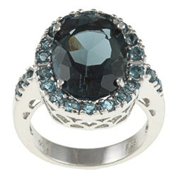 Glitzy Rocks Sterling Silver 7 CTW London Blue Topaz Cocktail Ring